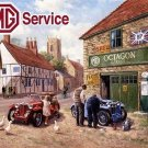 MG Service Car Garage in a Rural Village Vintage Mechanic, Large Metal/Tin Sign