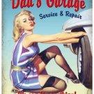 Dad's Garage, Car Mechanic, 50's Pinup, Funny/Humorous, Medium Metal/Tin Sign