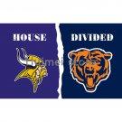 house divided flag Minnesota Vikings flag with Chicago Bears banner flag 3x5 FT