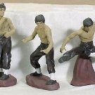 25832 ~ 3 Pc Porcelain Martial Arts Bruce Lee FREE SHIPPING