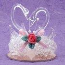 21780 ~ Twin Swans Spun Glass ~ Ceramic Treasures