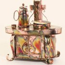 25038 ~ Musical Metal Old Time Stove Sculpture ~ Ceramic Treasures