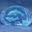 30071 ~ Blue Glass Carved Dolphins ~ Ceramic Treasures