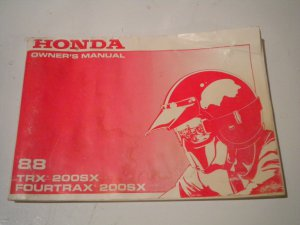 1988 Honda TRX 200SX FourTrax Owners Manual Owner's Literature TRX200 TRX200SX