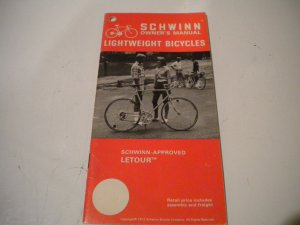 Schwinn Lightweight Bicycles Owner's Manual Owners Guide Vintage