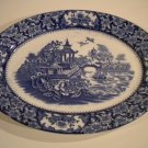 VINTAGE OVAL PLATTER DEEP BLUE WILLOW PATTERN OLDE ALTON WARE 11.5""