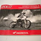 HONDA CRF250R 2007 Owners Manual Owner's Guide CRF 250 CRF250 R 250R