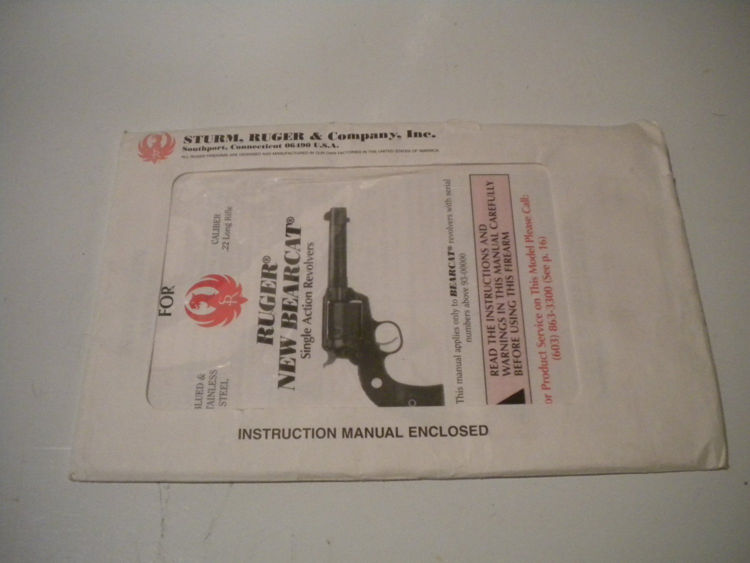 Ruger New Bearcat Single Action Revolver Instruction Manual