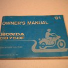 Honda CB750F Owners Manual - 1981  Honda Motor Co., LTD. Owner Guide
