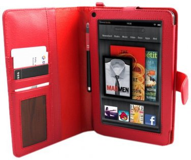 Kindle Fire Tablet E-Stand CSLCKF40-RED Red PU Leather Portfolio Case Dual Internal Compartments