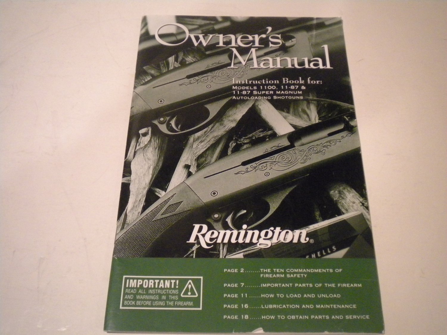 Remington 1100 and 1187 & 1187 Super Mag Owners Manual on