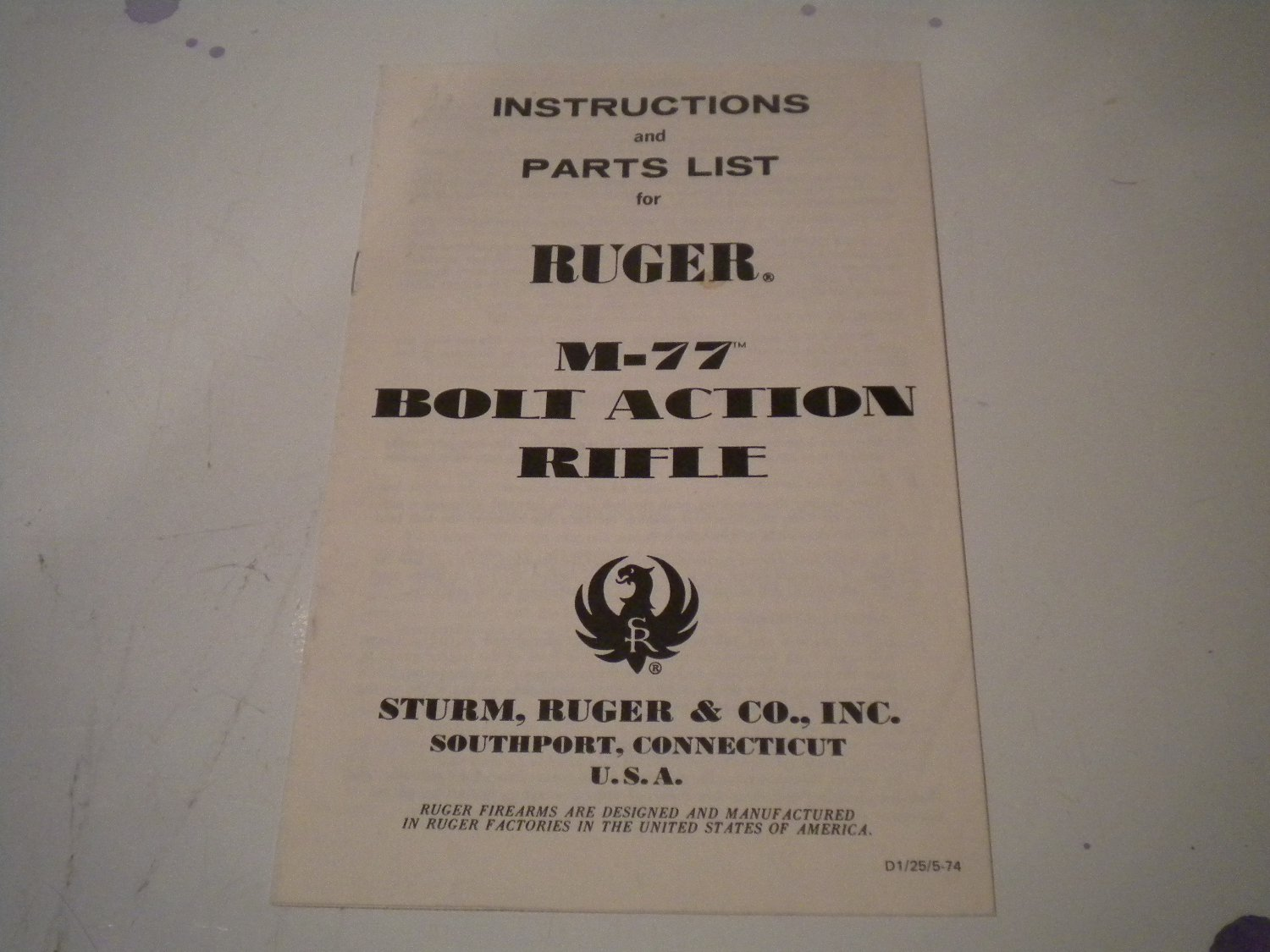 Ruger Model 77 Rifle Owner's Manual Owner Guide Owners 5-74 1974