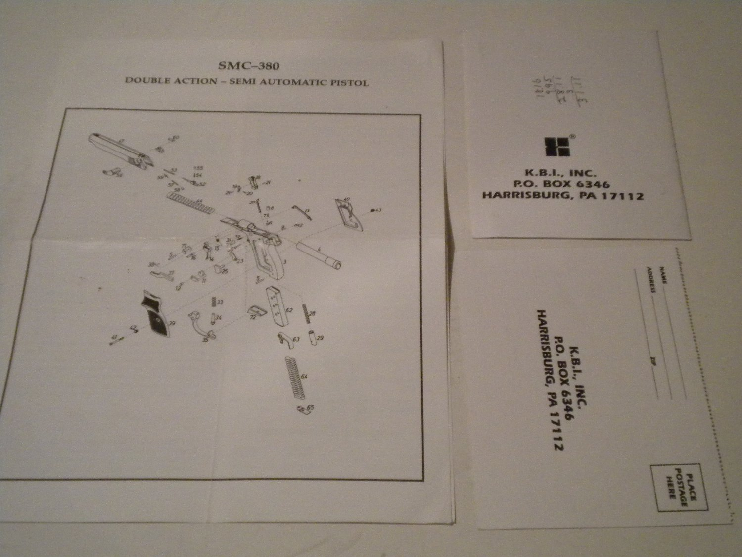 KBI INSTRUCTION AND SAFETY MANUAL for the SMC-380 Semi Auto Pistol, Original