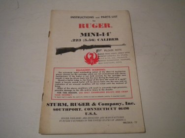 Ruger Mini 14 Owner's Manual, 1977, NICE!