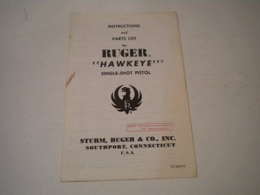 Ruger Hawkeye Pistol Owner's Manual, NICE!