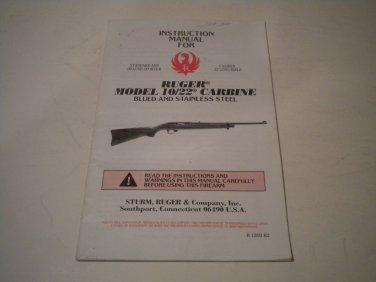 Ruger 10/22 Carbine Owner's Manual, 1993, NICE!