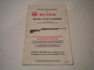 Ruger 10/22 Carbine Owner's Manual, 1989, NICE!