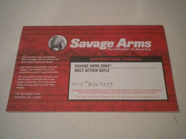 Savage Edge Rifle Owner's Manual, NICE!