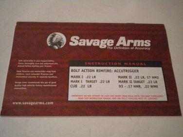 Savage Rimfire Rifle Owner's Manual MARK I .22 LR TARGET  CUB MARK II 17 HM2 TARGET 93 - .17 HMR