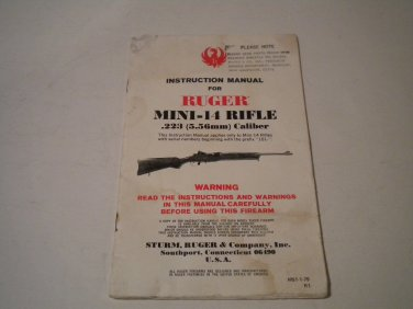 Ruger Mini 14 Rifle Owner's Manual, 1979, NICE!