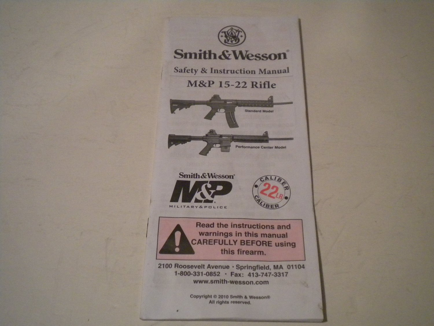 Smith & Wesson Model M&P 15/22 Rifle Owner's Manual, 2010, NICE!