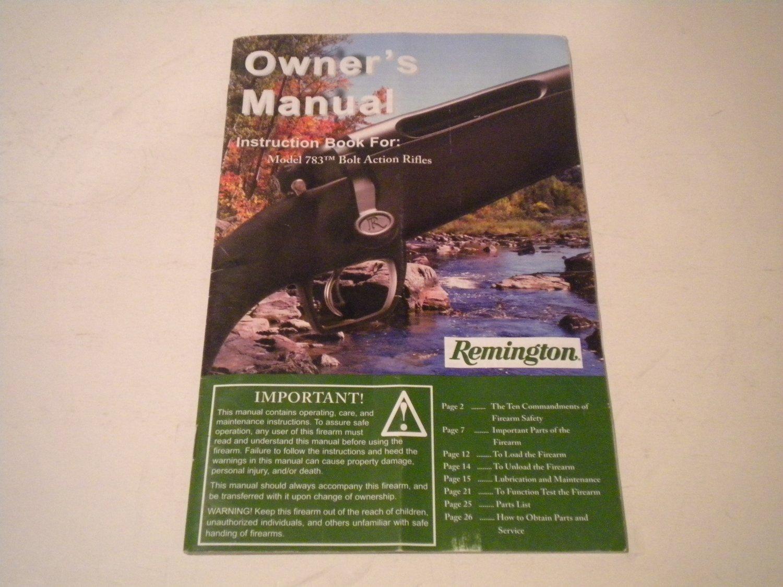 Remington 783 Rifle Owner's Manual, 2012, NICE!