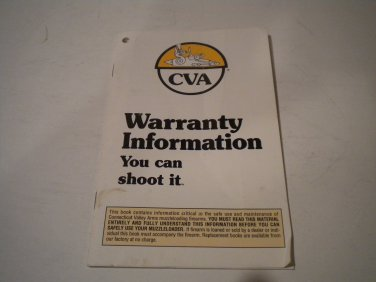 CVA Muzzle Loading Rifle Owner's Manual, 1992, NICE!