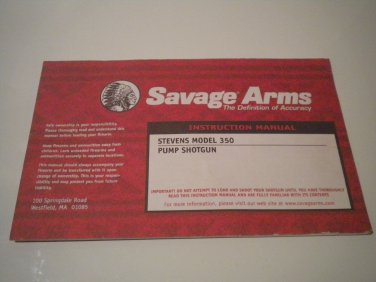Savage Stevens Model 350 Shotgun Owner's Manual, NICE!