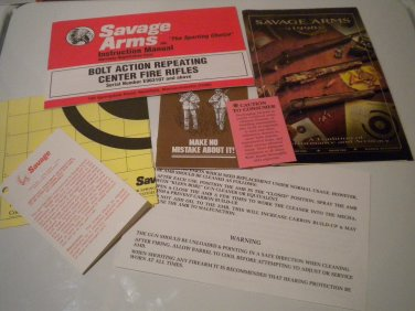 Savage Owner's Manual Packet, Bolt Rifles, 1997, NICE!