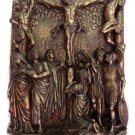 Calvary Wall Plaque, Cold-Cast Bronze, Lightly Hand-Painted
