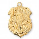 Gold over Sterling Silver Saint Michael Medal 18 inch Chain & Box