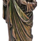 """St. Jude Statue, Lightly Hand-Painted Cold Cast Bronze, 8"""""""
