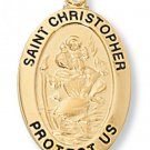 Gold over Sterling Silver Saint Christopher Medal 20 inch Chain & Box