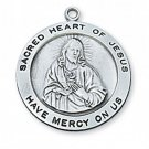 Sterling Silver Round Sacred Heart Medal 24 inch Chain & Box