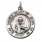 "Sterling Silver 25mm Sacred Heart Of Jesus 24"" Necklace"