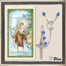 Silver Plate Rosary Sapphire/Crystal Beads/St Christopher