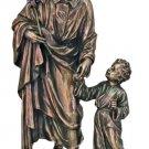 """St. Joseph & Child Statue, In Cold Cast Bronze,  8.25"""""""