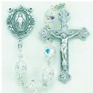All Sterling Silver Rosary made with Double Capped Swarovski Crystals
