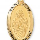 Gold over Sterling Silver Saint Jude Medal 18 inch Chain & Box