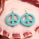 Turquoise peace sign earrings turquoise stone earrings dangle