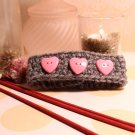 Crochet bracelet in gray with pink heart buttons handmade bracelet