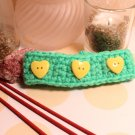 Crochet bracelet in lime green with yellow heart buttons handmade bracelet