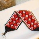 Beaded bracelet Red, black, and white loom bracelet  handmade  bracelet hand woven