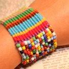 Beaded bracelet Unique woven bracelet loom bracelets bead and fiber loom bracelet colorful bracelet