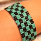Turquoise and Black loom bracelet Beaded bracelets handmade loom beaded cuff bracelet