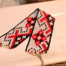 Red black and white tribal bracelet beaded bracelet handmade loom woven bracelet