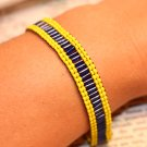 Blue and Yellow Loom bracelet beaded bracelets handmade loom bracelet woven bracelet