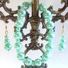 Mint Green Bracelet and Earrings Set, Glass Pearl Bracelet and Dangle Earrings