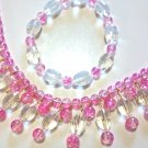 Pink Necklace and  Bracelet Jewelry Set, Handmade Glas