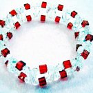 Red and Clear Crystals Bracelet, Party Jewelry, Handmade Bead Bracelet Bangle